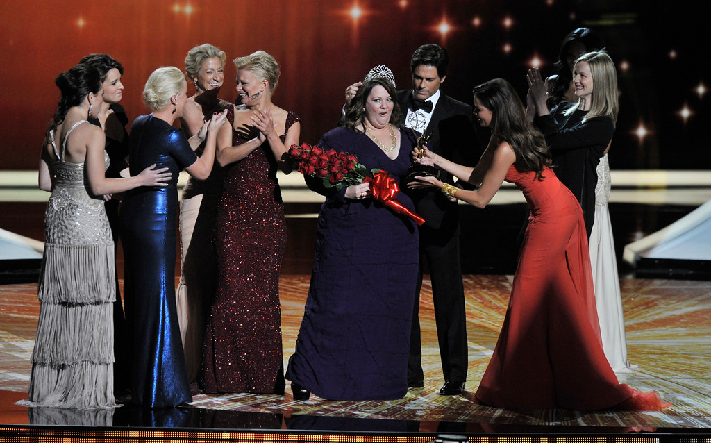 . Outstanding Lead Actress in a Comedy Series nominees Tina Fey, Martha Plimpton,  Amy Poehler, Edie Falco, and Laura Linney Melissa McCarthy for winning the Emmy during the 63rd Primetime Emmy Awards show at the Nokia Theatre in Los Angeles, California on September 18, 2011.   (John McCoy/Los Angeles Daily News)