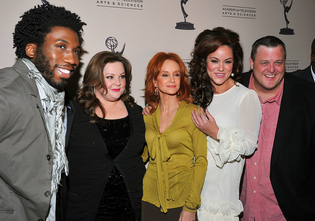 . (L-R) Nyambi Nyambi, Melissa McCarthy, Swoosie Kurtz, Katy Mixon and Billy Gardell arrive at the Academy of Television Arts & Sciences Presents an Evening with �Mike & Molly� at the Academy of Television Arts & Sciences on March 8, 2012 in North Hollywood, California. (Photo by Vince  Bucci/Invision for the Academy of Television Arts & Sciences/AP Images)