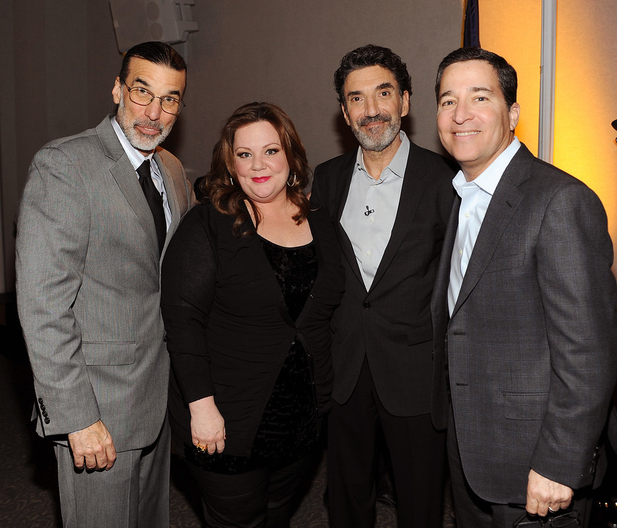 ". (L-R) Executive producer Don Foster, actress Melissa McCarthy, executive producer Chuck Lorre and Television Academy Chairman & CEO, Bruce Rosenblum attend the Academy of Television Arts & Sciences Presents an Evening with ""Mike & Molly\"" at the Academy of Television Arts & Sciences on March 8, 2012 in North Hollywood, California. (Photo by Frank Micelotta/PictureGroup) via AP IMAGES"