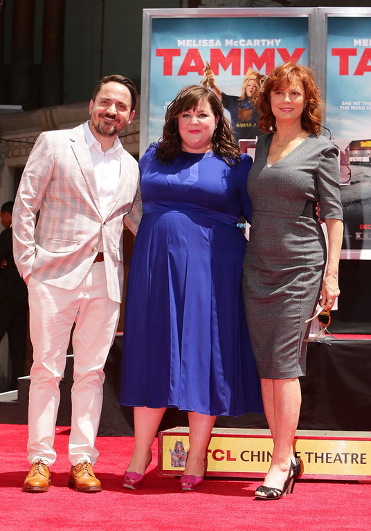 . Director Ben Falcone, Melissa McCarthy and Susan Sarandon seen at a ceremony immortalizing Melissa McCarthy with a Hand and Footprint at TCL Chinese Theatre on Wednesday, July 02, 2014, in Hollywood, CA. (Photo by Eric Charbonneau/Invision for Warner Bros/AP Images)
