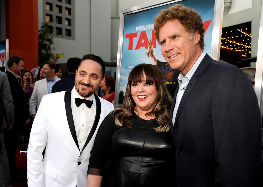 ". Ben Falcone and from left, Melissa McCarthy and Will Ferrell arrive at the Los Angeles premiere of ""Tammy\"" at the TCL Chinese Theatre on Monday, June 30, 2014. (Photo by Chris Pizzello/Invision/AP)"