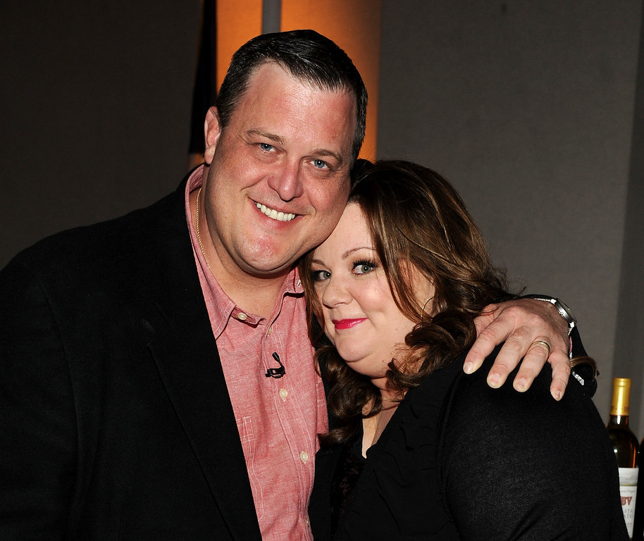 ". Billy Gardell (L) and Melissa McCarthy attend the Academy of Television Arts & Sciences Presents an Evening with ""Mike & Molly\"" at the Academy of Television Arts & Sciences on March 8, 2012 in North Hollywood, California. (Photo by Frank Micelotta/PictureGroup) via AP IMAGES"