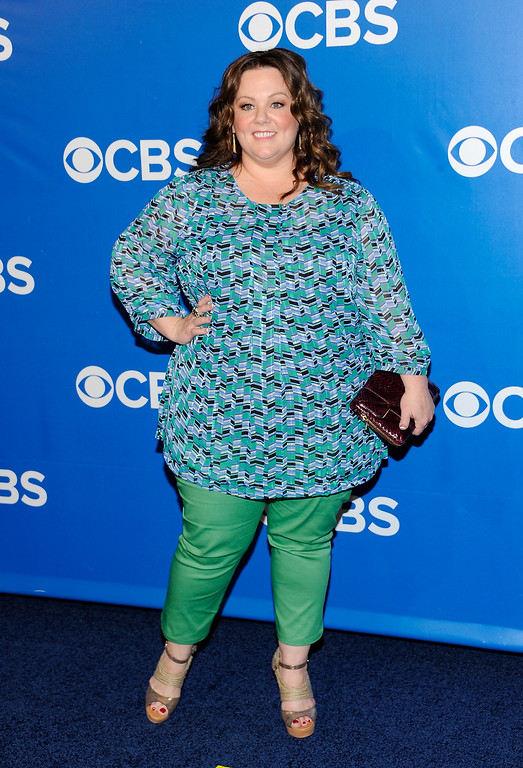 ". Actress Melissa McCarthy from the show ""Mike & Molly\"" attends the CBS network upfront presentation at The Tent at Lincoln Center, Wednesday, May 16, 2012 in New York. (AP Photo/Evan Agostini)"