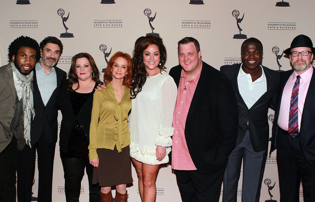. (L-R) Nyambi Nyambi, Chuck Lorre, Melissa McCarthy, Swoosie Kurtz, Katy Mixon, Billy Gardell, Reno Wilson and Mark Roberts arrive at the Academy of Television Arts & Sciences Presents an Evening with \'Mike & Molly\' at the Academy of Television Arts & Sciences on March 8, 2012 in North Hollywood, California. (Photo by Underwood/Invision for the Academy of Television Arts & Sciences/AP Images)