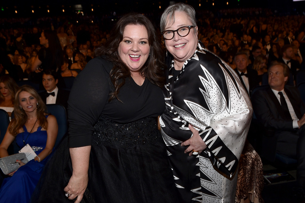 . Melissa McCarthy, left, and Kathy Bates pose at the 66th Primetime Emmy Awards at the Nokia Theatre L.A. Live on Monday, Aug. 25, 2014, in Los Angeles. (Photo by John Shearer/Invision for the Television Academy/AP Images)