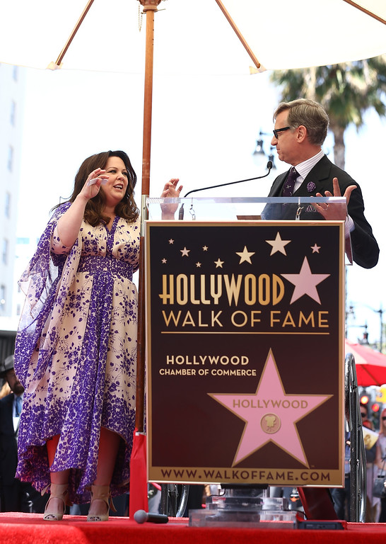 . Director Paul Feig (R) speaks as actress Melissa McCarthy is honored with a star on the Hollywood Walk Of Fame on May 19, 2015 in Hollywood, California.  (Photo by Mark Davis/Getty Images)