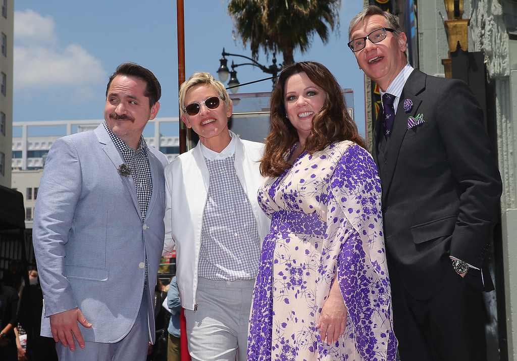 . Actress Melissa McCarthy (3L) poses with Ben Falcone (L), Ellen DeGeneres (2L) and director Paul Feig (R) as she is honored with a star on the Hollywood Walk Of Fame on May 19, 2015 in Hollywood, California.  (Photo by Mark Davis/Getty Images)