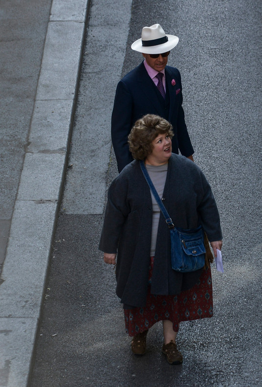 . American actress Melissa McCarthy, below, playing the role of Susan Cooper, and US director Paul S. Feig are seen during shooting of their film Spy (working title) in Budapest, Hungary, Wednesday, May 28, 2014. (AP Photo/MTI, Bea Kallos)