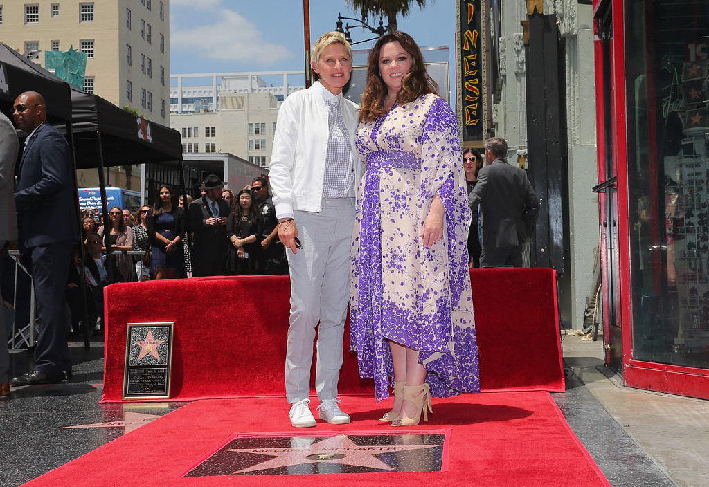 . Ellen DeGeneres (L) poses with actress Melissa McCarthy as McCarthy is honored with a star on the Hollywood Walk Of Fame on May 19, 2015 in Hollywood, California.  (Photo by Mark Davis/Getty Images)