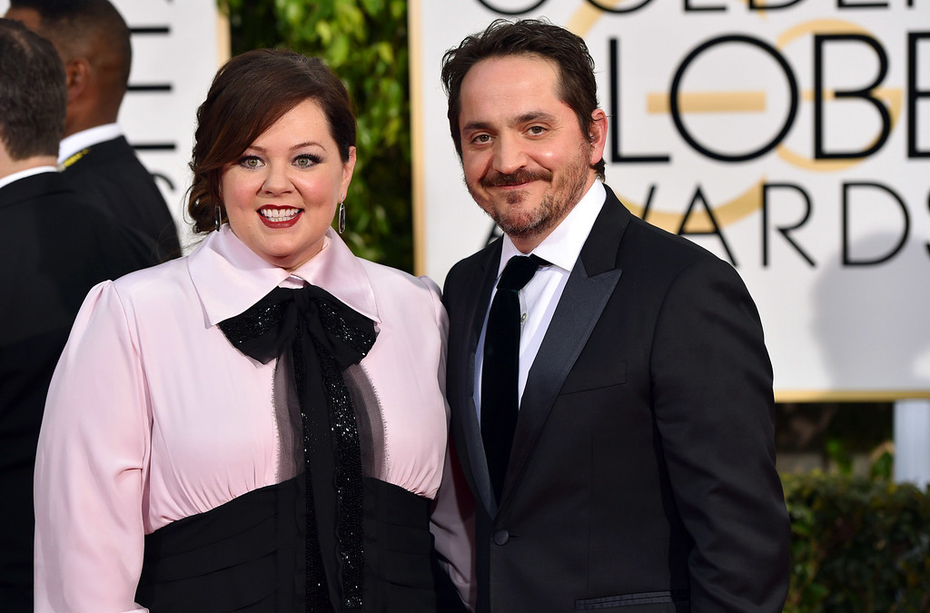 . Melissa McCarthy, left, and Ben Falcone arrive at the 72nd annual Golden Globe Awards at the Beverly Hilton Hotel on Sunday, Jan. 11, 2015, in Beverly Hills, Calif. (Photo by John Shearer/Invision/AP)