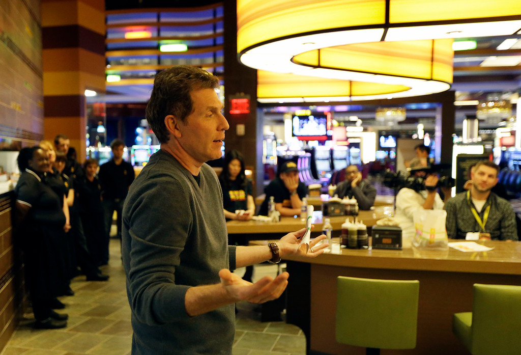 . Chef Bobby Flay speaks to the media during a luncheon at his new restaurant, Bobby\'s Burger Palace, opening inside Horseshoe Casino Cincinnati, Monday, March 4, 2013, in Cincinnati. The casino is set to open to the public Monday evening. March 4. (AP Photo/Al Behrman)