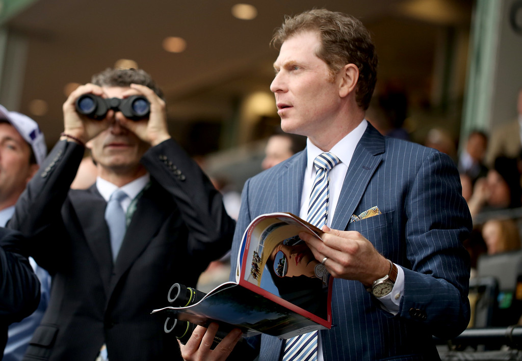 . Bobby Flay attends day 1 of the 2014 Breeders\' Cup World Championships at Santa Anita Park on Friday, Oct. 31, 2014, in Santa Anita, Calif. (Photo by Matt Sayles/Invision for Breeders\' Cup/AP Images)