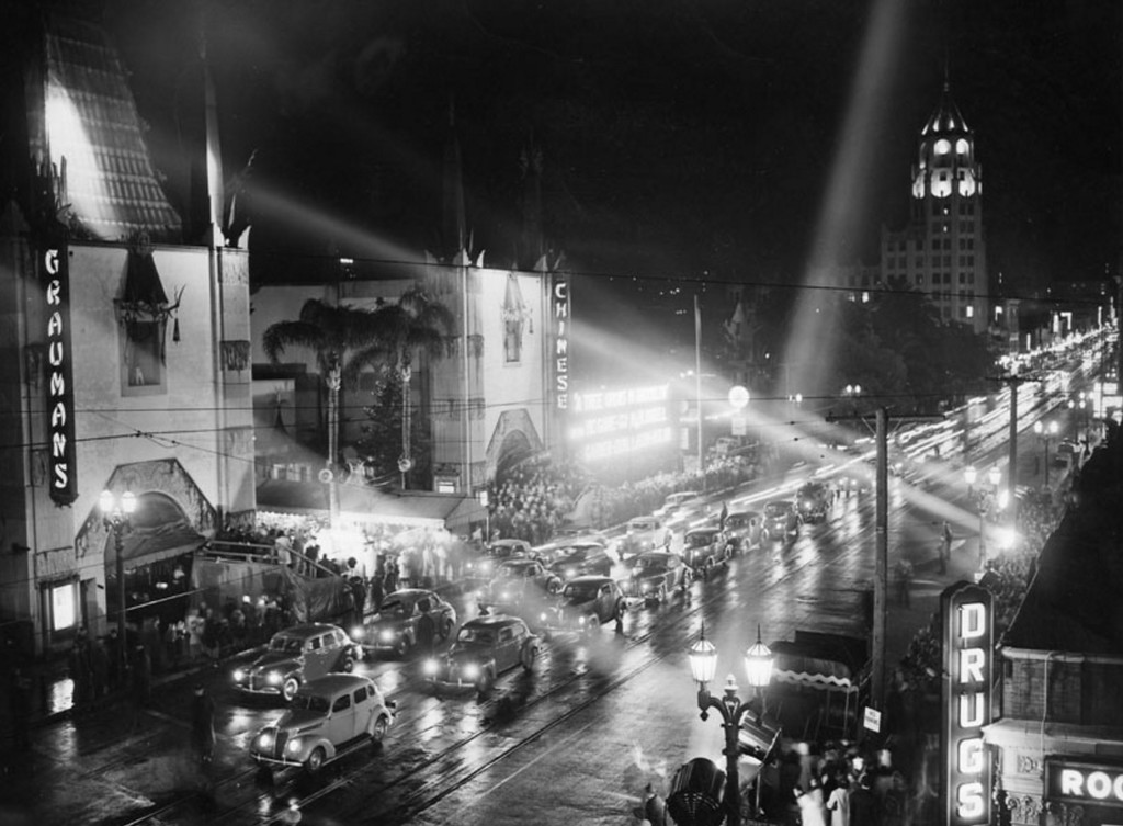 ". Exterior view of Grauman\'s Chinese Theatre, where a premiere is taking place. "" The 16th Academy Awards were held here in 1944.  (1945: Courtesy Los Angeles Public Library)"