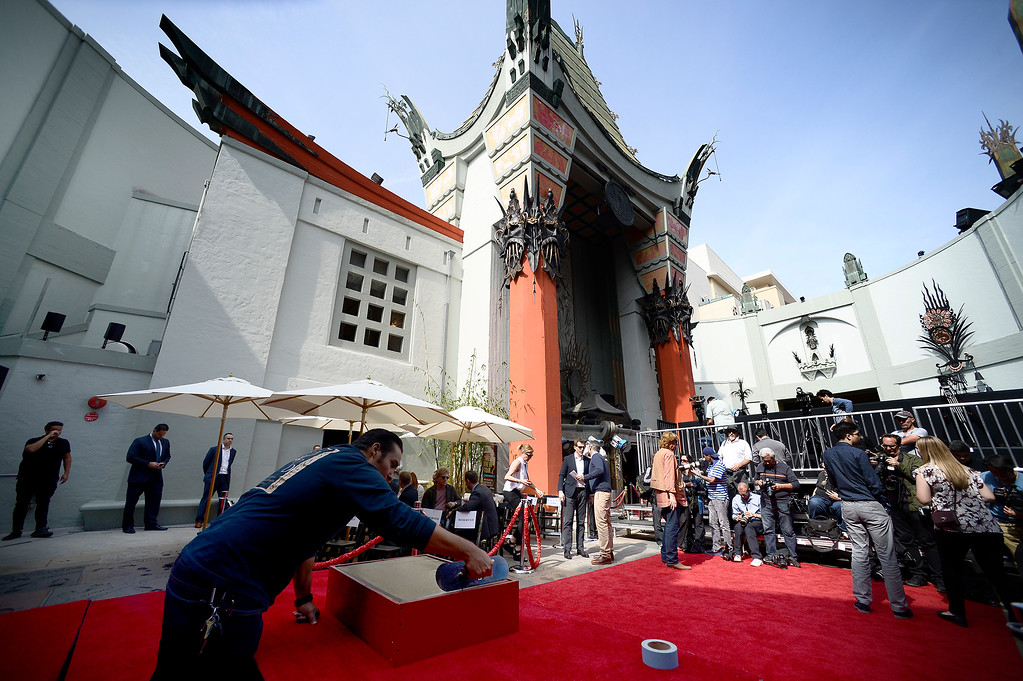 . Concrete is made ready for acclaimed director Ridley Scott who was immortalized in concrete when he placed his hand and foot prints infront of the TLC Chinese Theatre. Hollywood, CA. 5/17/2017 Photo by John McCoy/Los Angeles Daily News (SCNG)