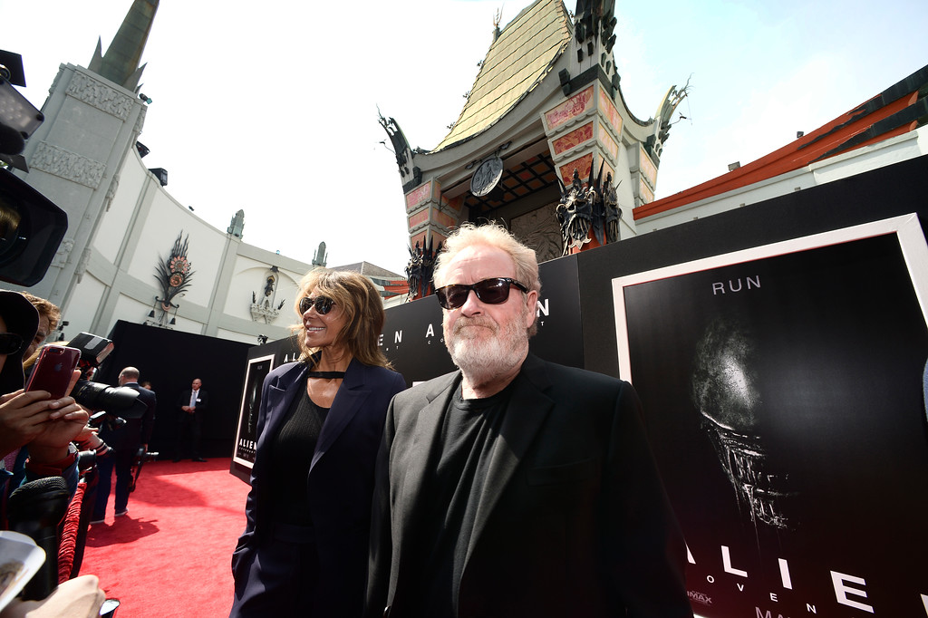 . Giannina Faci and her husband Acclaimed director Ridley Scott arrive at the TLC Chinese Thearter. Scott would be  immortalized in concrete when he placed his hand and foot prints in wet cement. Hollywood, CA. 5/17/2017 Photo by John McCoy/Los Angeles Daily News (SCNG)