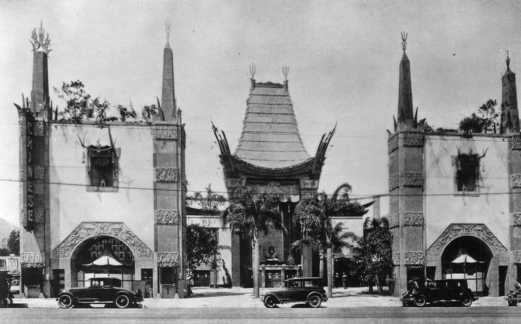 . 1927: Exterior view of the Grauman\'s Chinese Theater on Hollywood Boulevard.  (Courtesy Los Angeles Public Library)