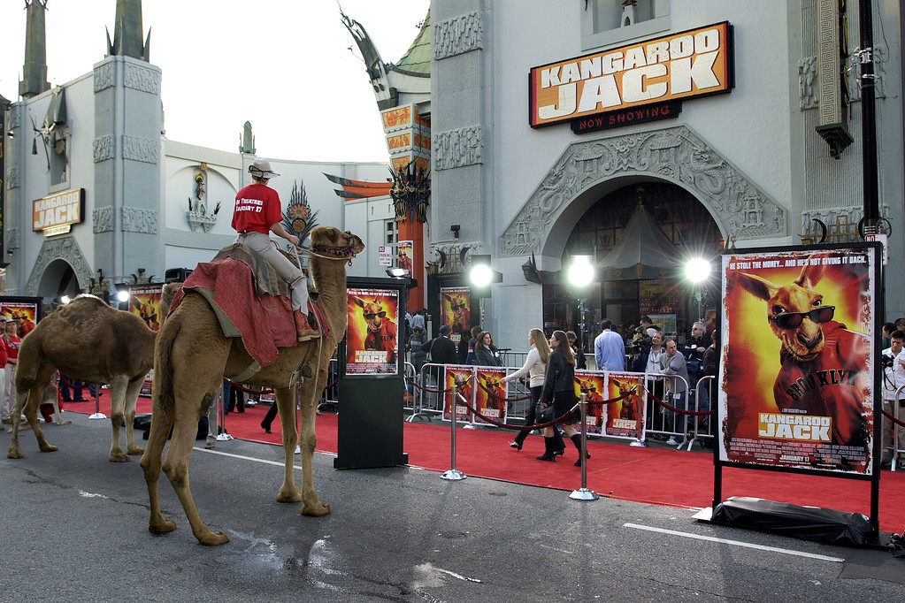 ". HOLLYWOOD - JANUARY 11:  Animals from the Los Angeles Zoo take part in the premiere of the film ""Kangaroo Jack\""  at Grauman\'s Chinese Theatre on January 11, 2003 in Hollywood, California. (Photo by Vince Bucci/Getty Images)"