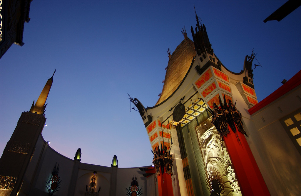 . The original Grauman\'s Chinese Theatre forecourt, where stars have left their hand and foot prints in concrete for some 80 years, stands at the new Hollywood and Highland complex March 6, 2002 in Hollywood, CA.   (Photo by David McNew/Getty Images)