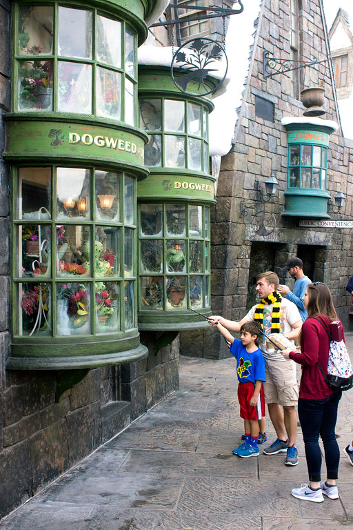 . Wands are at the ready to make some magic in Hogsmeade in the Wizarding World of Harry Potter at Universal\'s Islands of Adventure theme park in Orlando. (Photo by Mark Eades, Orange County Register/SCNG) Taken in Orlando at Universal\'s Islands of Adventure on Sunday, January 15, 2017.