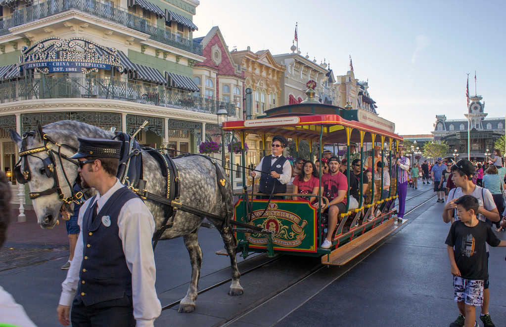 . The horse-drawn streetcars clip clop down Main Street U.S.A. at Walt Disney World\'s Magic Kingdom, just like at Disneyland in California. (Photo by Mark Eades, Orange County Register/SCNG) Taken in Orlando at Walt Disney World on Thursday, January 19, 2017.