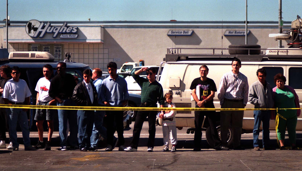 . Armed with automatic weapons and body armor, two masked men robbed a North Hollywood bank Friday, February 28, 1997, and then were killed trying to blast their way to freedom, spraying bullets into houses and cars as the world witnessed it live on television. (Los Angeles Daily News file photo)