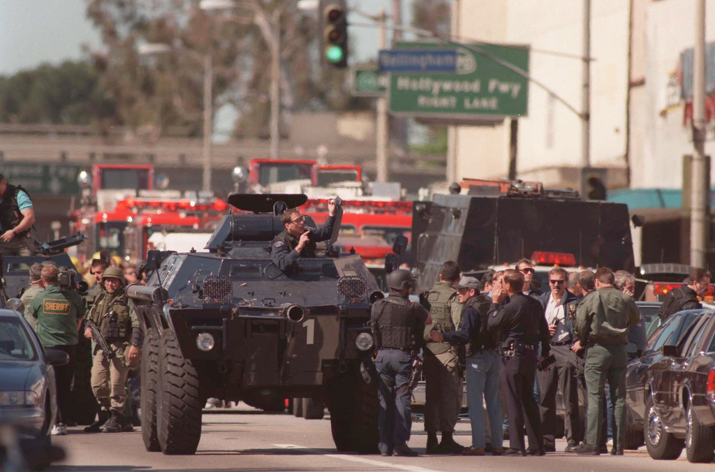 . A Los Angeles Police Department armored personnel carrier on Friday, Feb. 28, 1997 in the North Hollywood section of Los Angeles.