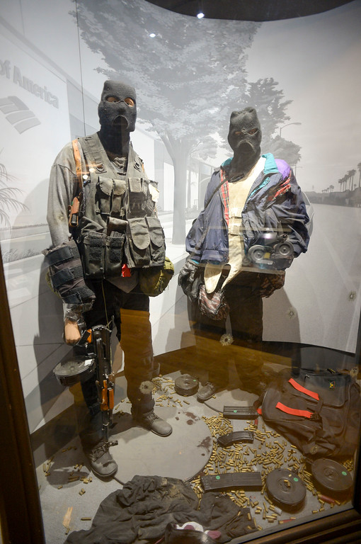 . Figures of the North Hollywood shoot out suspects, Larry Phillips, Jr., and Emil Matasareanu as they were dressed on the day of the Bank of America robbery at the Los Angeles Police museum in Highland Park.   (Photo by David Crane, Los Angeles Daily News/SCNG)