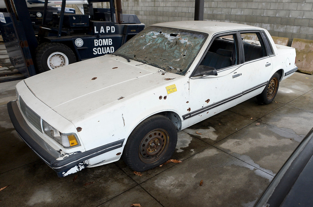. The bullet riddled car used by suspects in the North Hollywood shoot out is now on display at the Los Angeles Police Museum in Highland Park.   (Photo by David Crane, Los Angeles Daily News/SCNG)