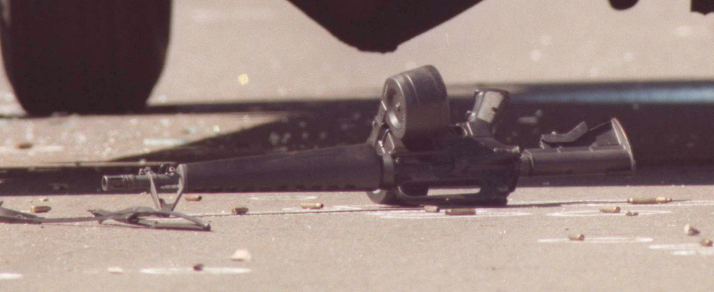 . The North Hollywood shootout was an armed confrontation between two heavily armed bank robbers and officers of the Los Angeles Police Department (LAPD) in the North Hollywood district of Los Angeles on February 28, 1997. Both robbers were killed, eleven police officers and seven civilians were injured, and numerous vehicles and other property were damaged or destroyed by the nearly 2,000 rounds of ammunition fired by the robbers and the police.  (Photo by Hans Gutknecht/Los Angeles Daily News)