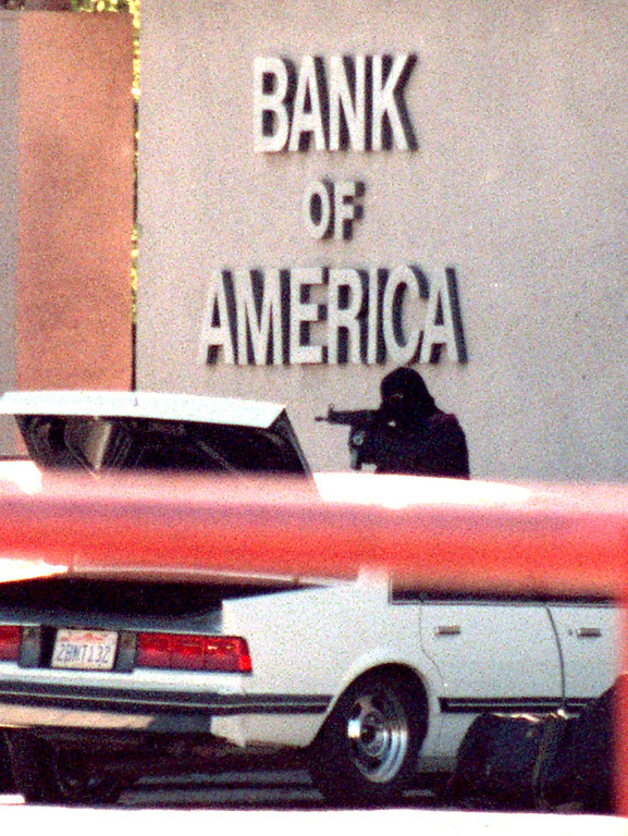 . Armed with automatic weapons and body armor, two masked men robbed a North Hollywood bank Friday, February 28, 1997, and then were killed trying to blast their way to freedom, spraying bullets into houses and cars as the world witnessed it live on television. (Photo by Gene Blevins/Los Angeles Daily News)