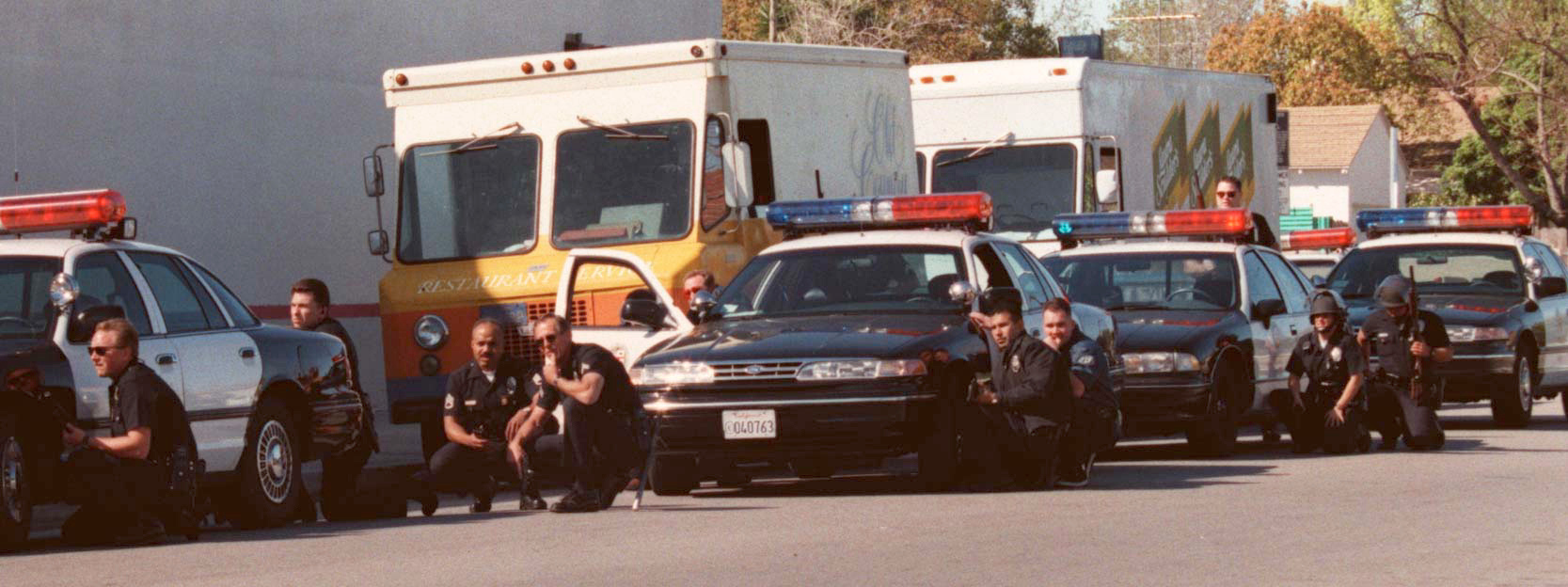 . Armed with automatic weapons and body armor, two masked men robbed a North Hollywood bank Friday, February 28, 1997, and then were killed trying to blast their way to freedom, spraying bullets into houses and cars as the world witnessed it live on television  (Photo by Gene Blevins/Los Angeles Daily News)