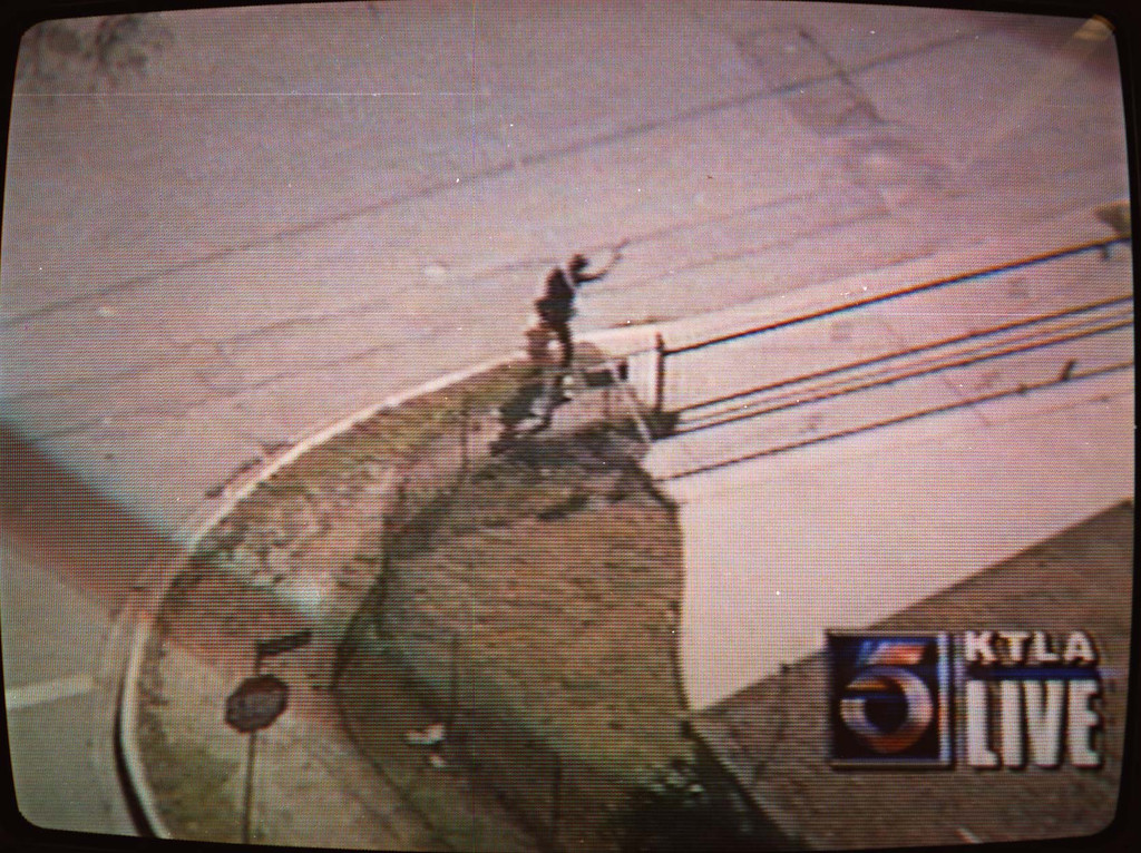. Armed with automatic weapons and body armor, two masked men robbed a North Hollywood bank Friday, February 28, 1997, and then were killed trying to blast their way to freedom, spraying bullets into houses and cars as the world witnessed it live on television.   (Courtesy of KTLA-TV)
