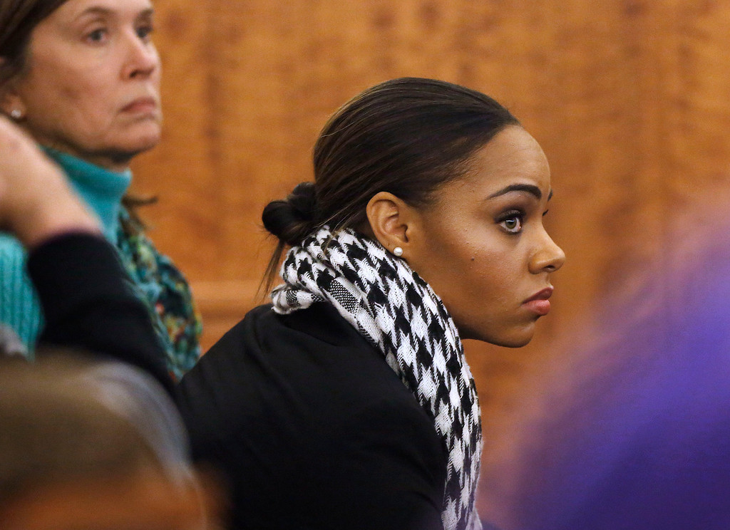 . Shayanna Jenkins, fiancee of former New England Patriots football player Aaron Hernandez, watches during the Hernandez\'s murder trial, Thursday, Jan. 29, 2015, in Fall River, Mass. Hernandez is charged with killing semiprofessional football player Odin Lloyd, 27, in June 2013.  (AP Photo/Steven Senne, Pool)