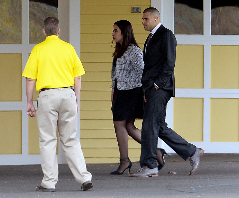 . DJ Hernandez, right, arrives at a private service for his brother Aaron Hernandez at O\'Brien Funeral Home, Monday, April 24, 2017, in Bristol, Conn. The former New England Patriots tight end was found hanged in his cell in a maximum-security prison on Wednesday. (AP Photo/Jessica Hill)