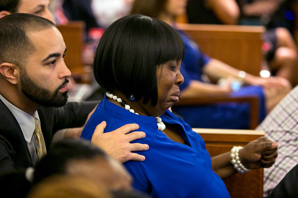 . Ursula Ward, mother of the victim, Odin Lloyd, cries as a guilty verdict is read for former New England Patriots football player Aaron Hernandez, during his murder trial at the Bristol County Superior Court in Fall River, Mass., Wednesday, April 15, 2015.  Hernandez was found guilty of first-degree murder in the shooting death of Lloyd in June 2013.  He faces a mandatory sentence of life in prison without parole.  (Dominick Reuter/Pool Photo via AP)