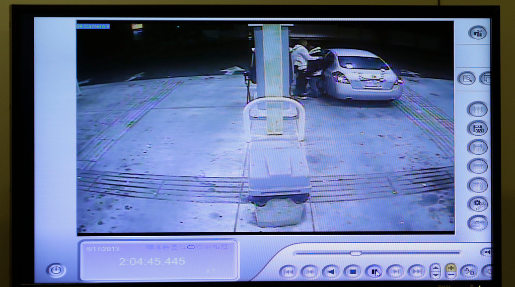 . A still image from a court room video display shows former New England Patriots NFL football player Aaron Hernandez, visiting a gas station about an hour before prosecutors say Odin Lloyd was killed, during Hernandez\'s murder trial at Bristol County Superior Court in Fall River, Mass., Thursday, Feb. 26, 2015. Hernandez is charged in the murder of Lloyd in 2013. (AP Photo/Charles Krupa, Pool)