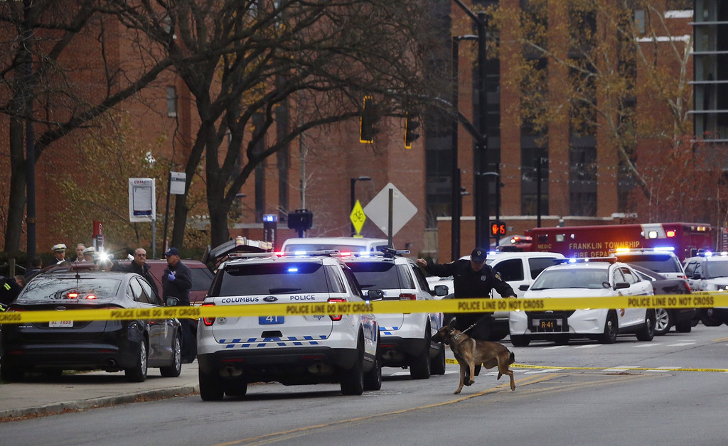 . Police respond to reports of an active shooter on campus at Ohio State University on Monday, Nov. 28, 2016, in Columbus, Ohio. (Tom Dodge/The Columbus Dispatch via AP)