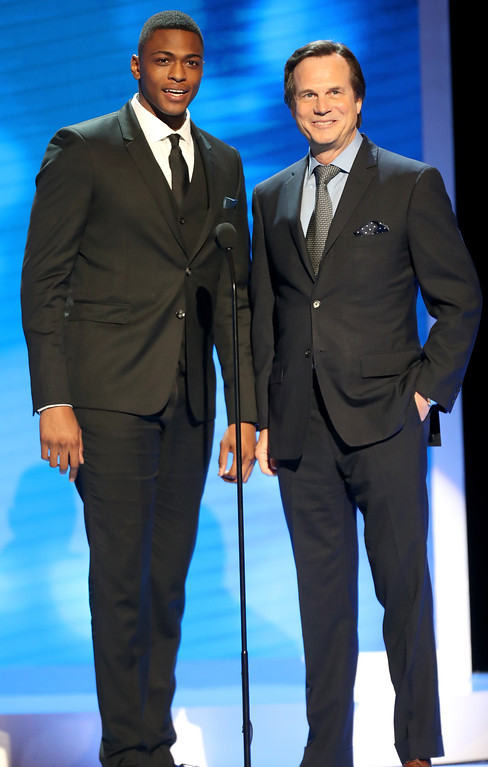 """. Actors Justin Cornwell (L) and Bill Paxton onstage at the 48th NAACP Image Awards at Pasadena Civic Auditorium on February 11, 2017 in Pasadena, California. A family representative said prolific and charismatic actor Paxton, who played an astronaut in \""""Apollo 13\"""" and a treasure hunter in \""""Titanic,\"""" died from complications due to surgery. The family representative issued a statement Sunday, Feb. 26, 2017, on the death.  (Photo by Frederick M. Brown/Getty Images )"""