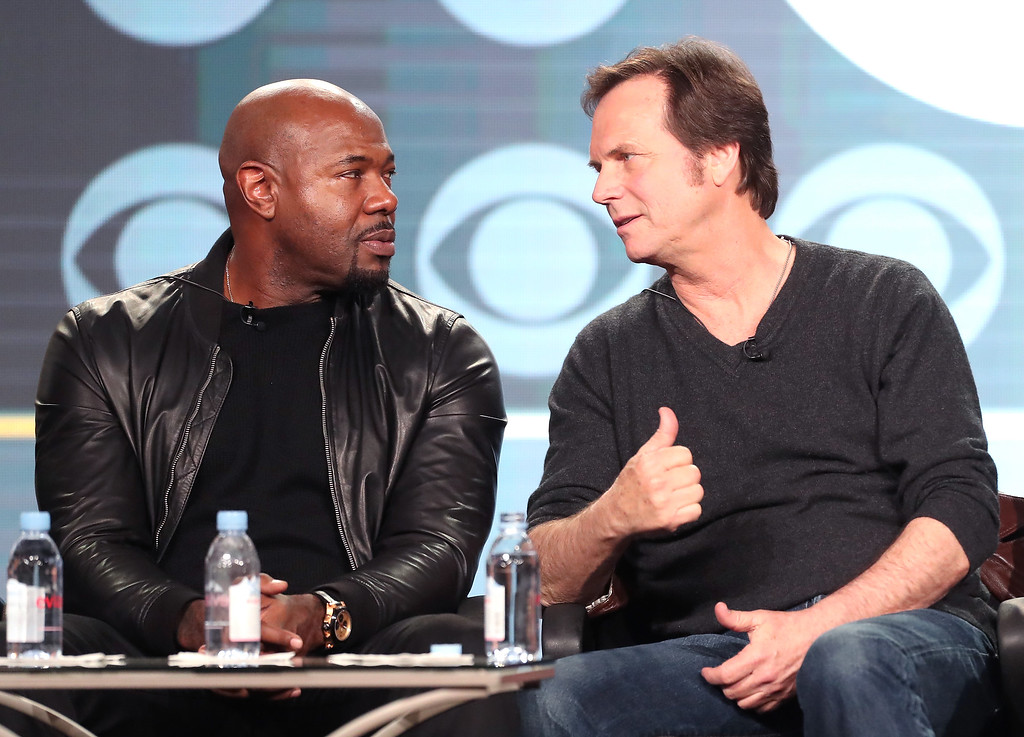 . PASADENA, CA - JANUARY 09:  Executive producer Antoine Fuqua, left, and actor Bill Paxton of the television show \'Training Day\' speak onstage during the CBS portion of the 2017 Winter Television Critics Association Press Tour at the Langham Hotel on January 9, 2017 in Pasadena, California.  (Photo by Frederick M. Brown/Getty Images)
