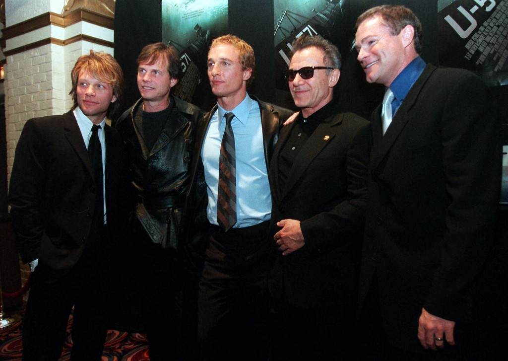 """. Cast members of the new World War II suspense film, \""""U-571,\"""" from left, Jon Bon Jovi, Bill Paxton, Matthew McConaughey, Harvey Keitel and David Keith, pose together at the premiere Monday, April 17, 2000, in the Westwood section of Los Angeles. The film chronicles an American submarine crew\'s mission to capture a top-secret encrypting device from a Nazi U-boat. (AP Photo/Chris Pizzello)"""