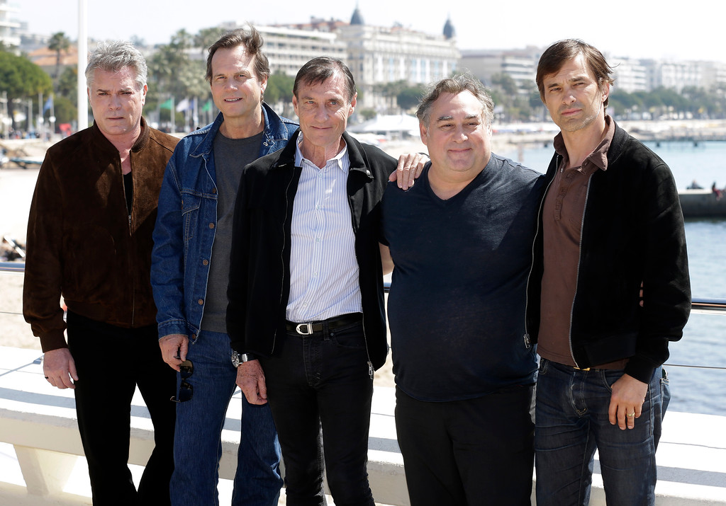 . Left to right, American actor Ray Liotta, American actor Bill Paxton, Director Roland Joffe, Executive Producer Leslie Greif and French film actor Olivier Martinez pose for photographers during the MIPTV International Television Programme Market, Monday, April 13, 2015, in Cannes, southern France. They present the brand new tv series �Texas Rising�. (AP Photo/Lionel Cironneau)