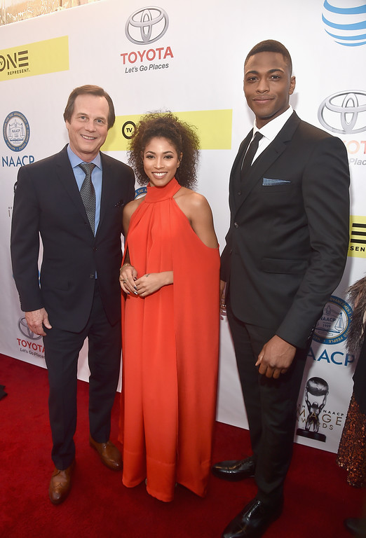 . PASADENA, CA - FEBRUARY 11:  (L-R) Actors Bill Paxton, Lex Scott Davis, and Justin Cornwell attend the 48th NAACP Image Awards at Pasadena Civic Auditorium on February 11, 2017 in Pasadena, California.  (Photo by Alberto E. Rodriguez/Getty Images for NAACP Image Awards)