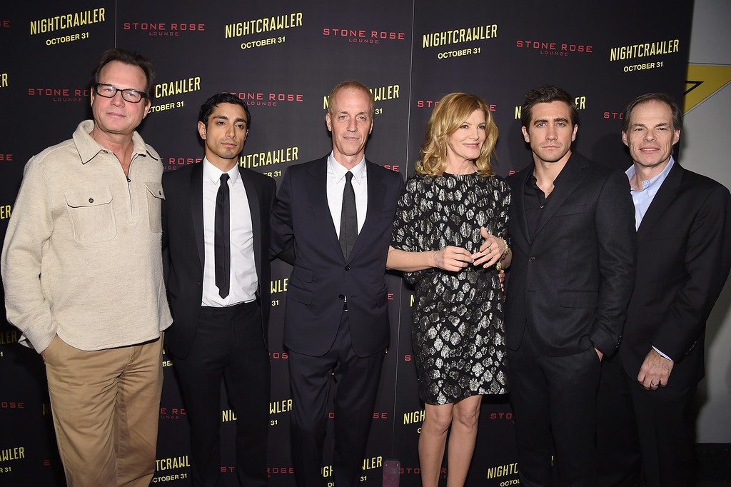 """. NEW YORK, NY - OCTOBER 27:  (L-R) Bill Paxton, Riz Ahmed, Dan Gilroy, Rene Russo, Jake Gyllenhaal, and Tom Ortenberg    attend the \""""Nightcrawler\"""" New York Premiere at AMC Lincoln Square Theater on October 27, 2014 in New York City.  (Photo by Jamie McCarthy/Getty Images)"""