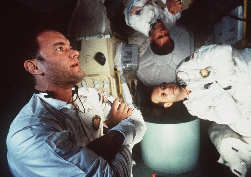 """. FILE--Tom Hanks, left, Kevin Bacon, center, and Bill Paxton appear in character in Universal Pictures \""""Apollo 13.\"""" The film was nominated for Best Picture in the 68th Annual Academy Awards announced in Los Angeles Tuesday, Feb. 13, 1996. (AP Photo/files/Universal Pictures)"""