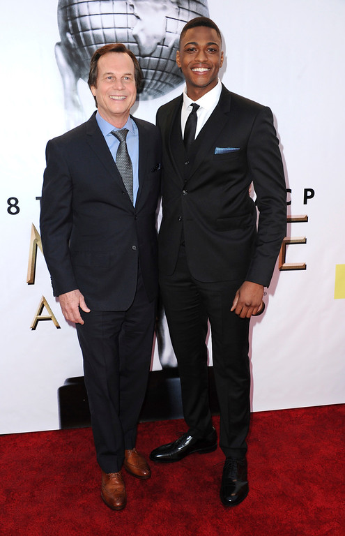. Bill Paxton, left, and Justin Cornwell arrive at the 48th annual NAACP Image Awards at the Pasadena Civic Auditorium on Saturday, Feb. 11, 2017, in Pasadena, Calif. (Photo by Richard Shotwell/Invision/AP)
