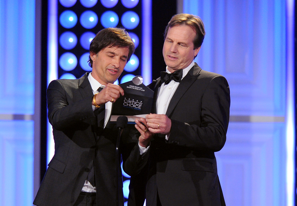 . Olivier Martinez, left, and Bill Paxton present the award for best actress, movie or limited series, at the Critics\' Choice Television Awards at the Beverly Hilton hotel on Sunday, May 31, 2015, in Beverly Hills, Calif. (Photo by Vince Bucci/Invision/AP)