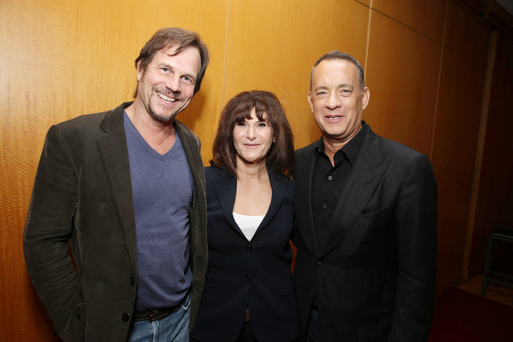 . From left, Bill Paxton, Amy Pascal, co-chairman of Sony Pictures Entertainment and chairman of Sony Pictures Entertainment Motion Picture Group, and Tom Hanks arrive at Columbia Pictures screening of \'Captain Phillips\', on Monday, Sept. 30, 2013 in Beverly Hills, Calif. (Photo by Eric Charbonneau/Invision for Sony Pictures/AP Images)