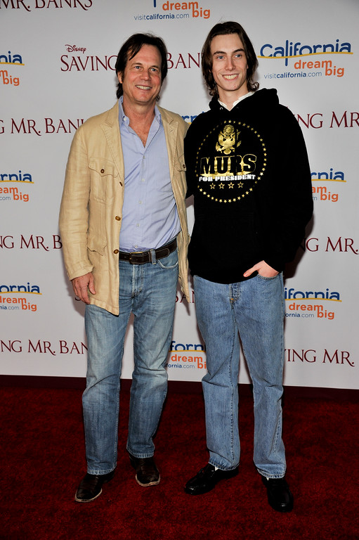 """. Bill Paxton and son James arrive at the U.S. Premiere of \""""Saving Mr. Banks\"""" - Arrivals at Disney Studios on Monday, December, 9, 2013 in Burbank, Calif. (Photo by Richard Shotwell/Invision/AP)"""
