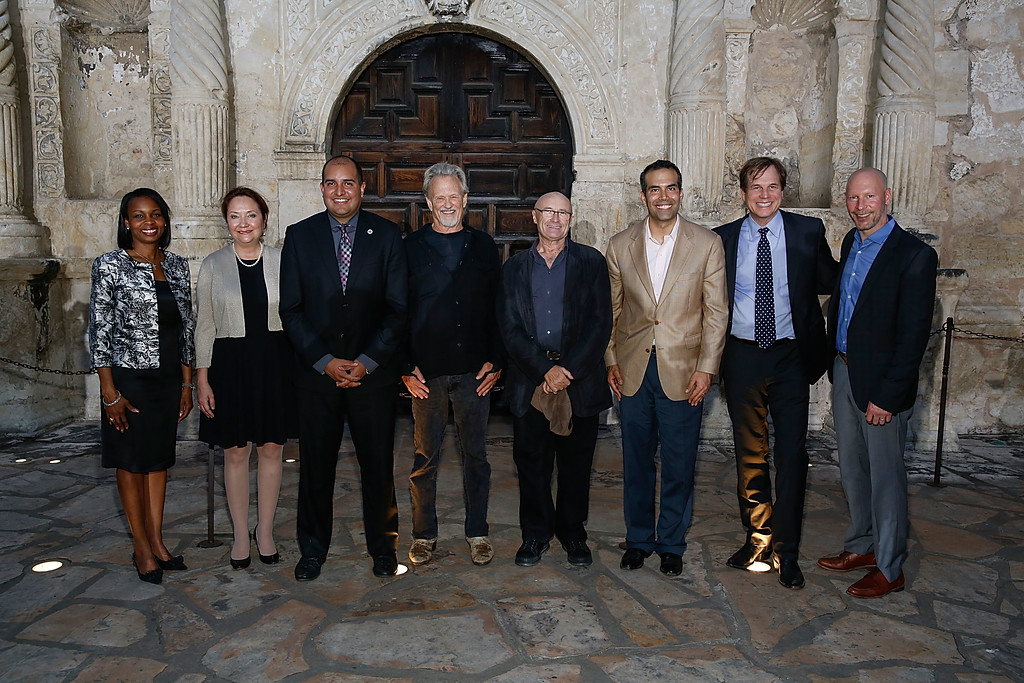 """. SAN ANTONIO, TX - MAY 18:  (L - R) San Antonio Mayor Ivy Taylor, Cecilia Abbott, Kris Kristofferson, Phil Collins, Texas General Land Commissioner George P. Bush, Bill Paxton, and EVP & GM, HISTORY Dirk Hoogstra attend the \""""Texas Honors\"""" event to celebrate the epic new HISTORY miniseries \""""Texas Rising\"""" at the Alamo on May 18, 2015 in San Antonio, Texas.  (Photo by Rick Kern/Getty Images for HISTORY)"""