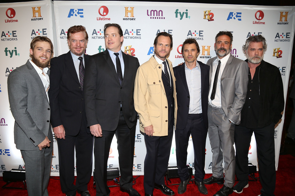 . From left, Max Thieriot, Christopher McDonald, Brendan Fraser, Bill Paxton, Olivier Martinez, Jeffrey Dean Morgan and Ray Liotta attend the A+E Networks 2014 Upfront on Thursday, May 8, 2014 in New York. (Photo by Greg Allen/Invision/AP)